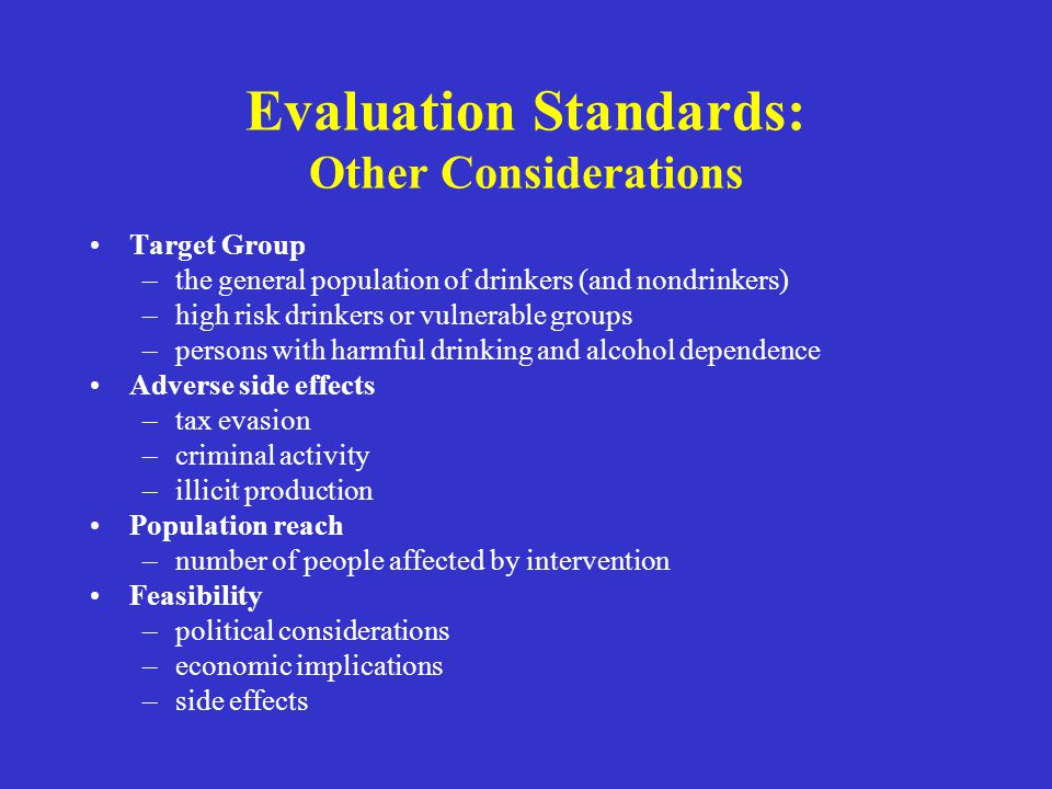 Evaluation Standards: Other Considerations