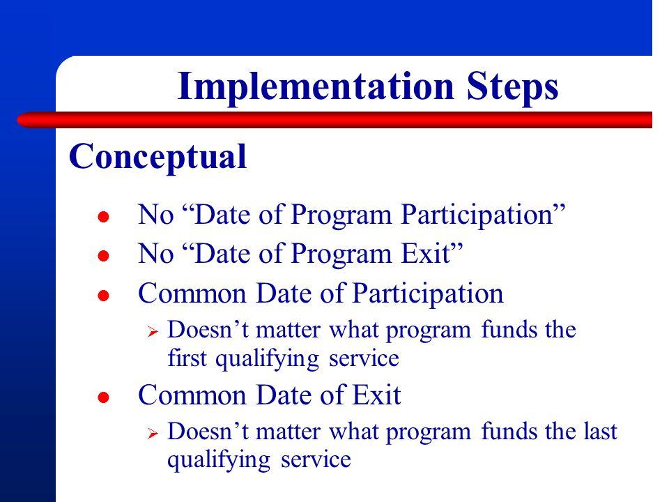 Implementation Steps Conceptual No Date of Program Participation