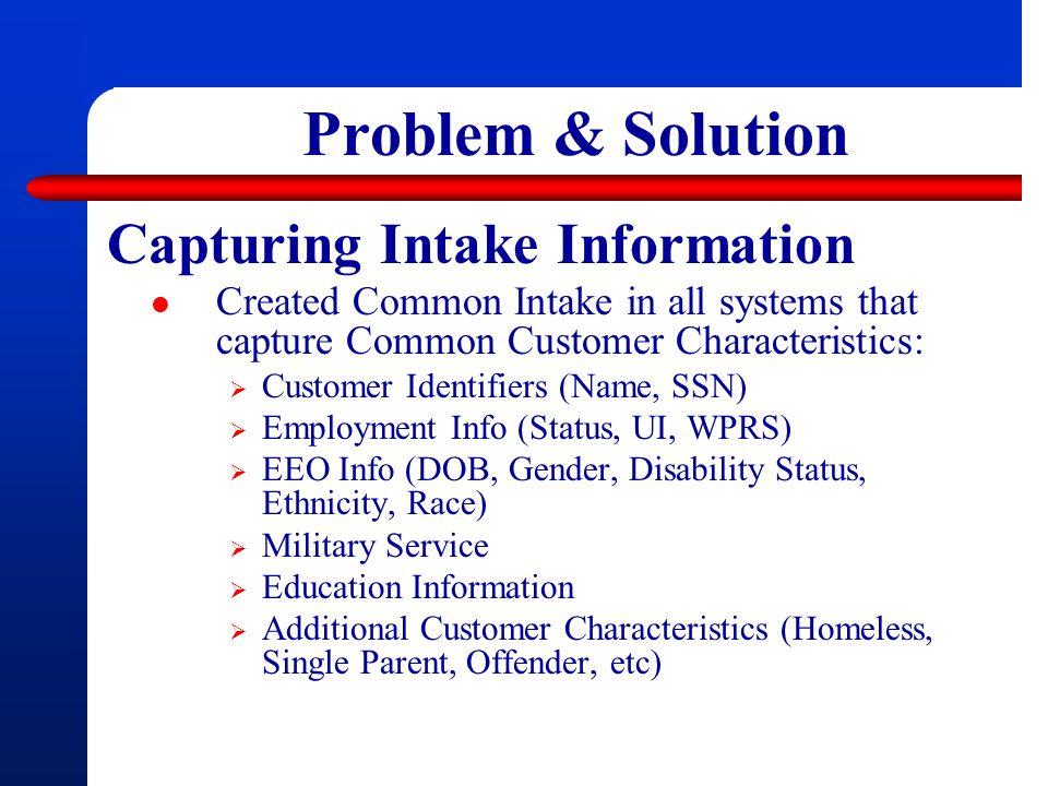 Problem & Solution Capturing Intake Information