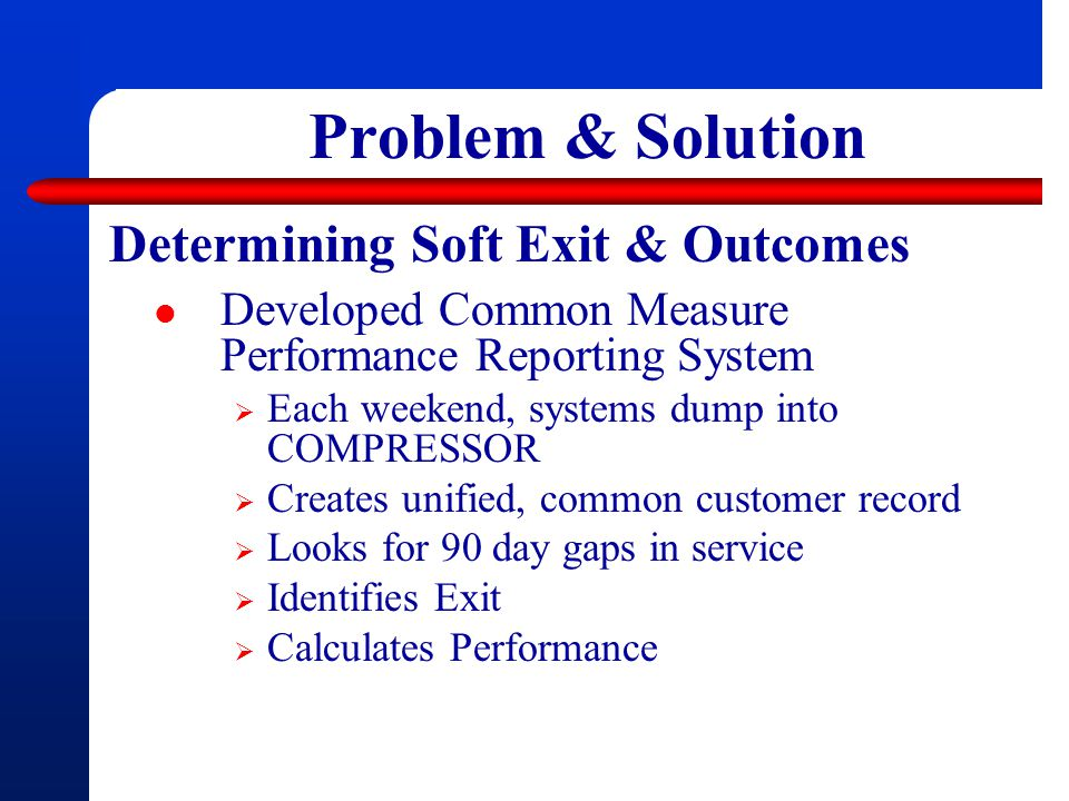 Problem & Solution Determining Soft Exit & Outcomes