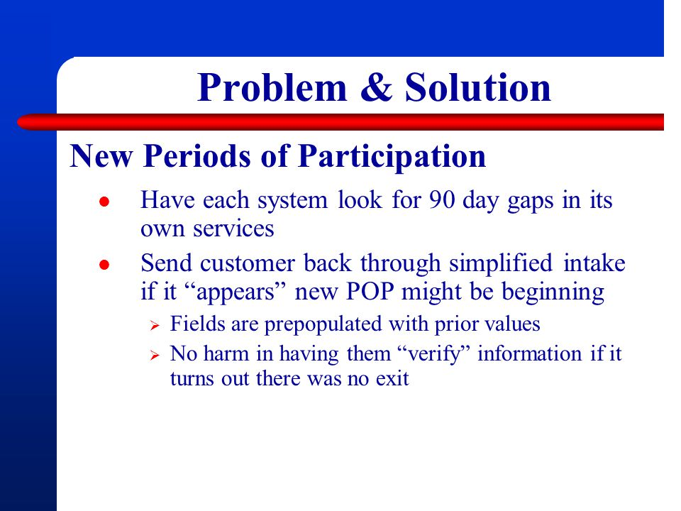 Problem & Solution New Periods of Participation