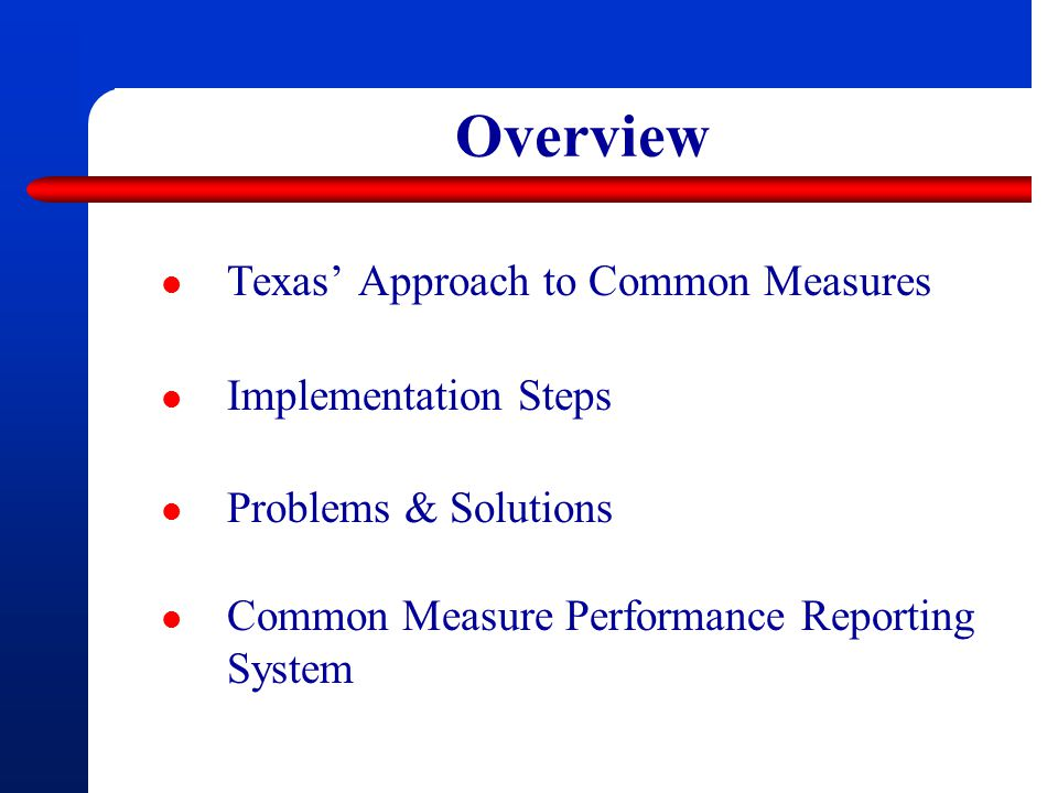 Overview Texas' Approach to Common Measures Implementation Steps