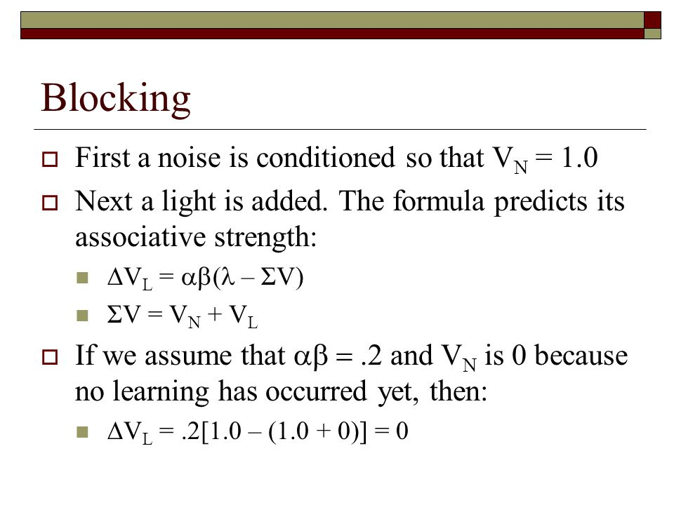 Blocking First a noise is conditioned so that VN = 1.0