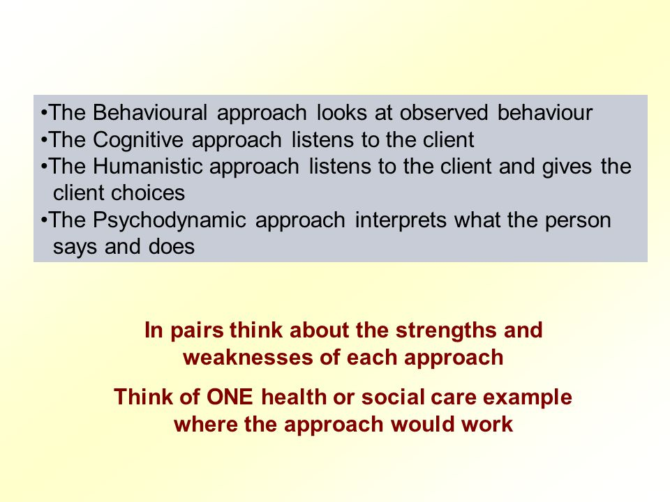 In pairs think about the strengths and weaknesses of each approach