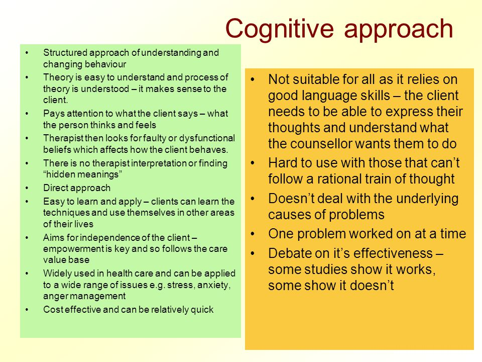 Cognitive approach Structured approach of understanding and changing behaviour.