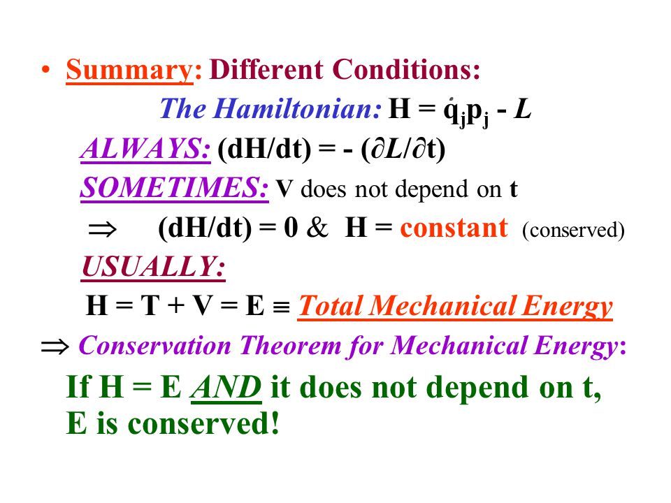 Summary: Different Conditions: