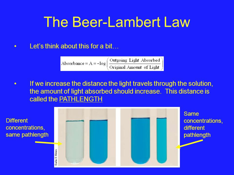 The Beer-Lambert Law Let's think about this for a bit…