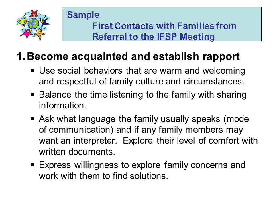 Sample First Contacts with Families from Referral to the IFSP Meeting