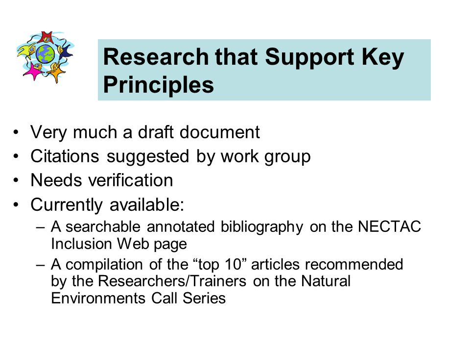 Research that Support Key Principles