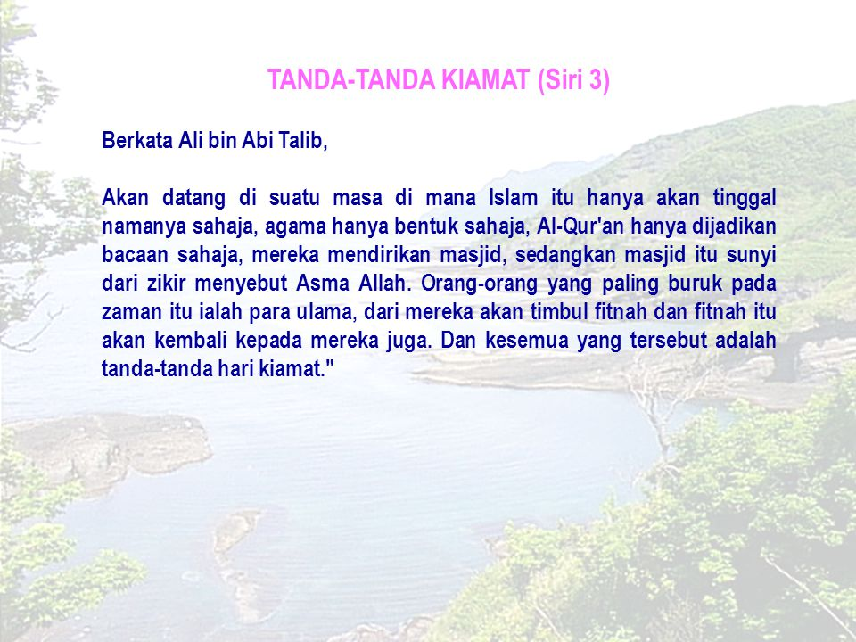 TANDA-TANDA KIAMAT (Siri 3)