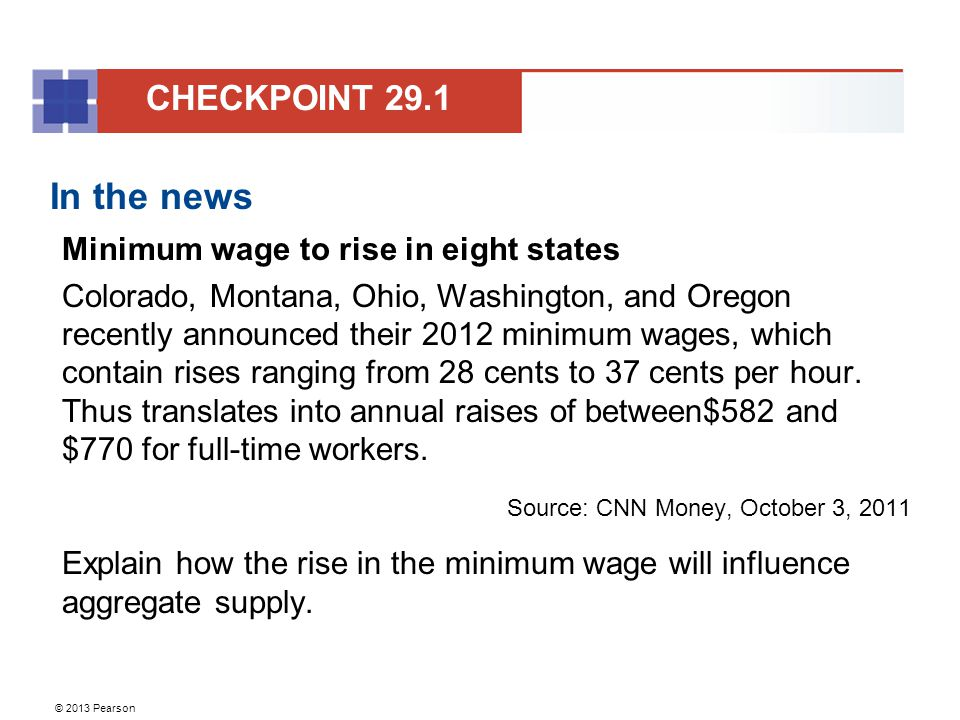 In the news CHECKPOINT 29.1 Minimum wage to rise in eight states