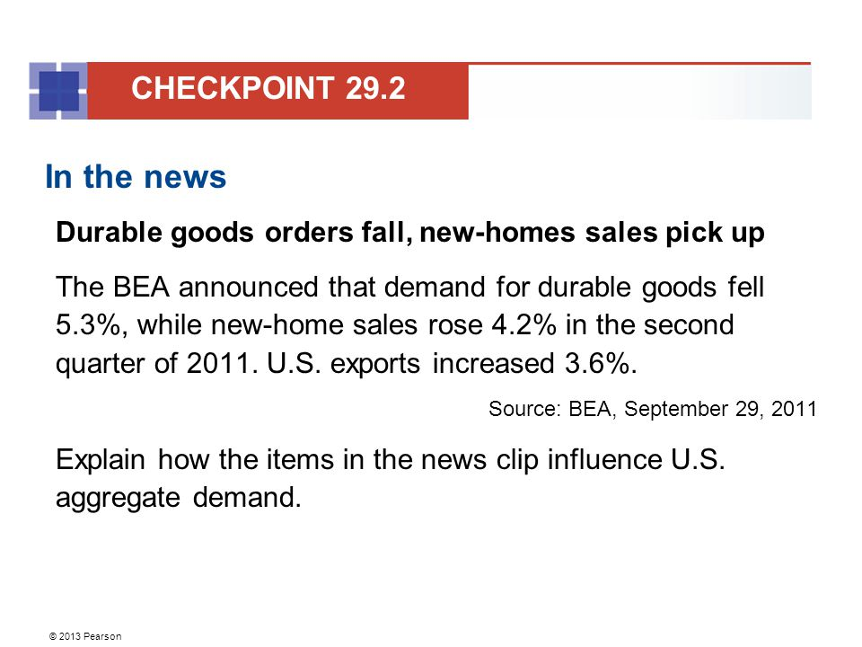 CHECKPOINT 29.2 In the news. Durable goods orders fall, new-homes sales pick up.