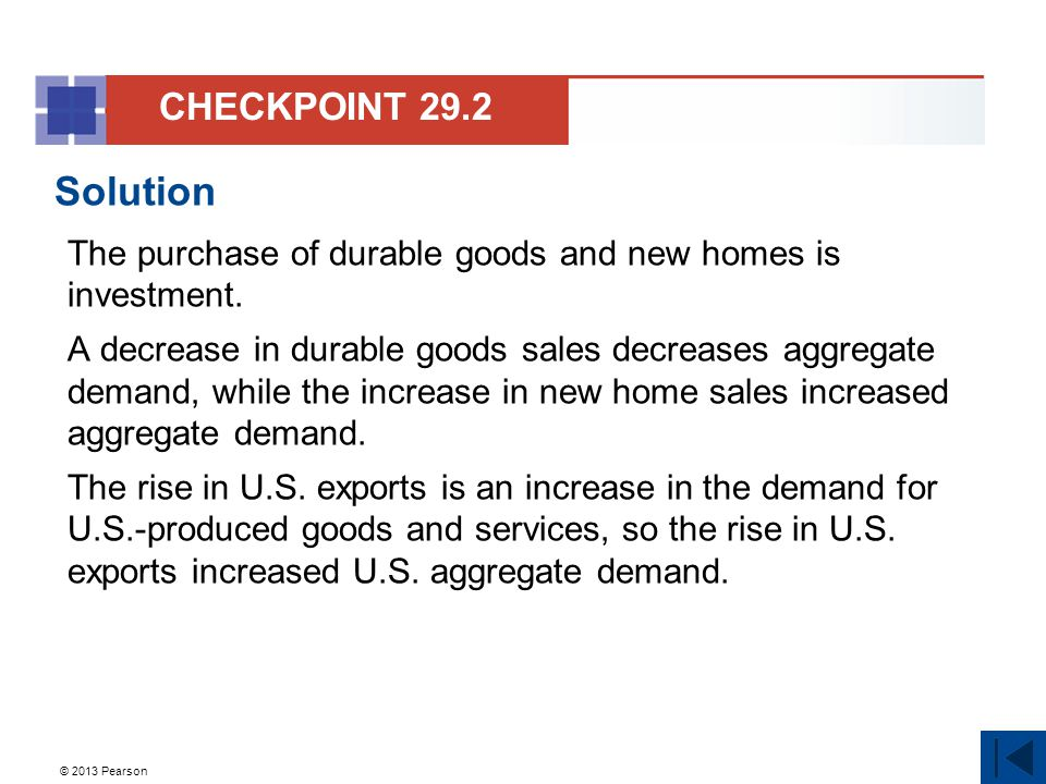 CHECKPOINT 29.2 Solution. The purchase of durable goods and new homes is investment.