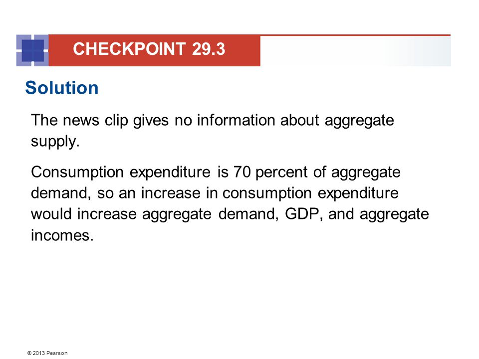CHECKPOINT 29.3 Solution. The news clip gives no information about aggregate supply.