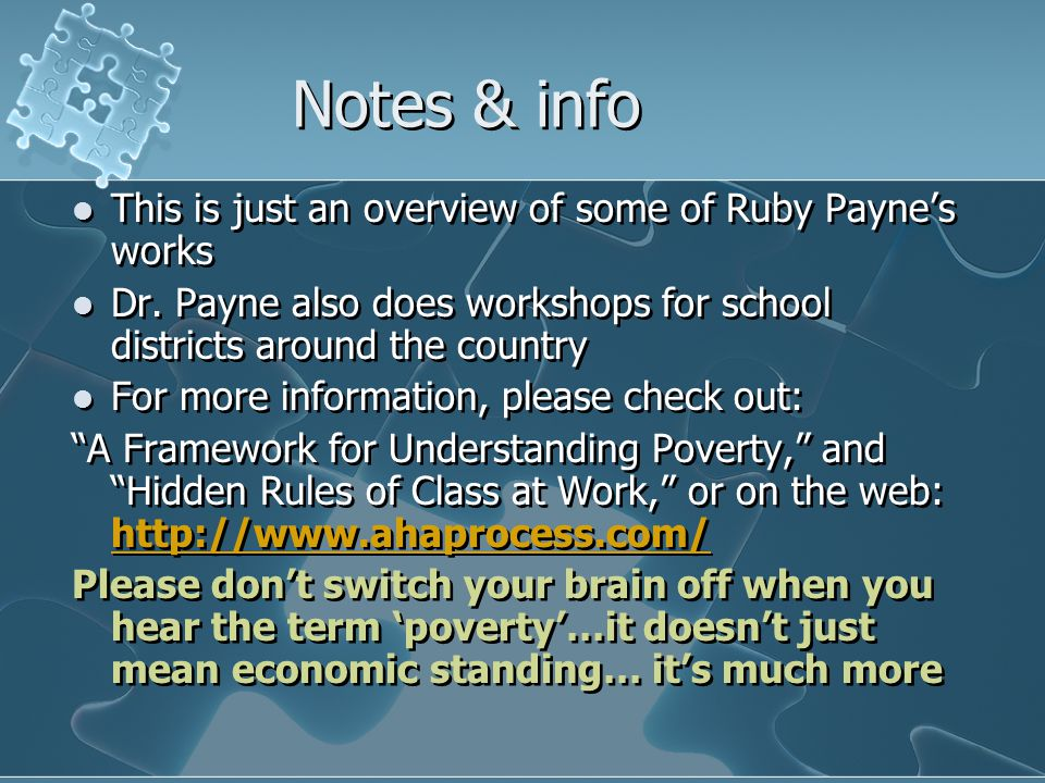 Notes & info This is just an overview of some of Ruby Payne's works