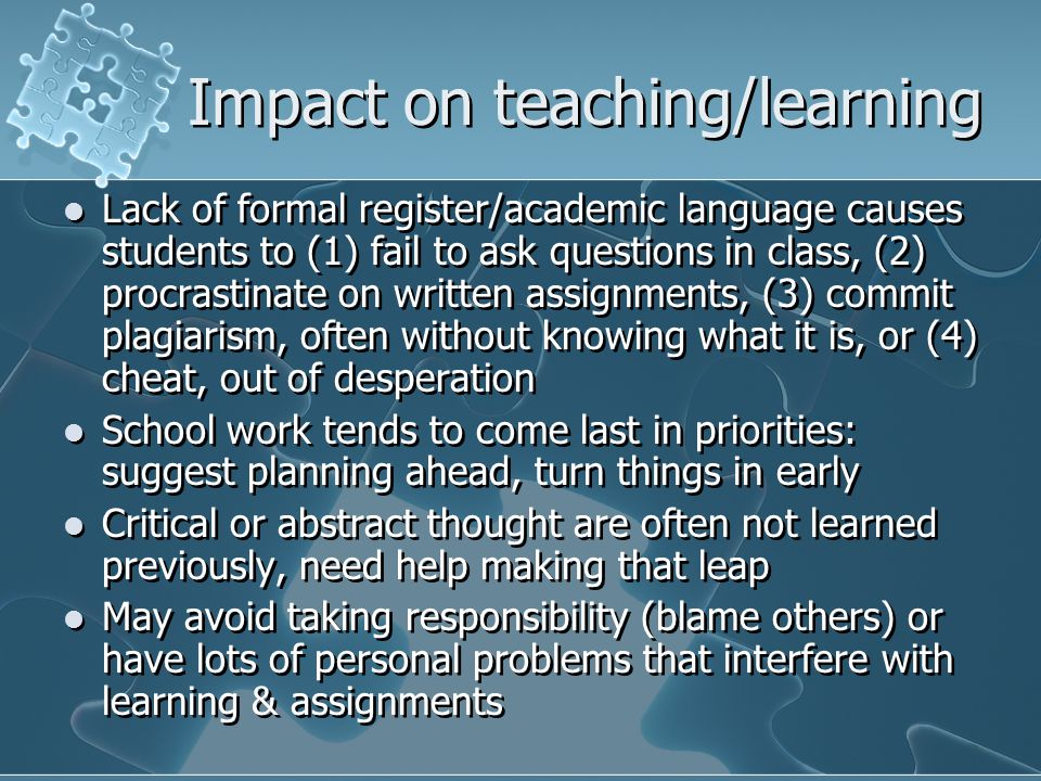 Impact on teaching/learning