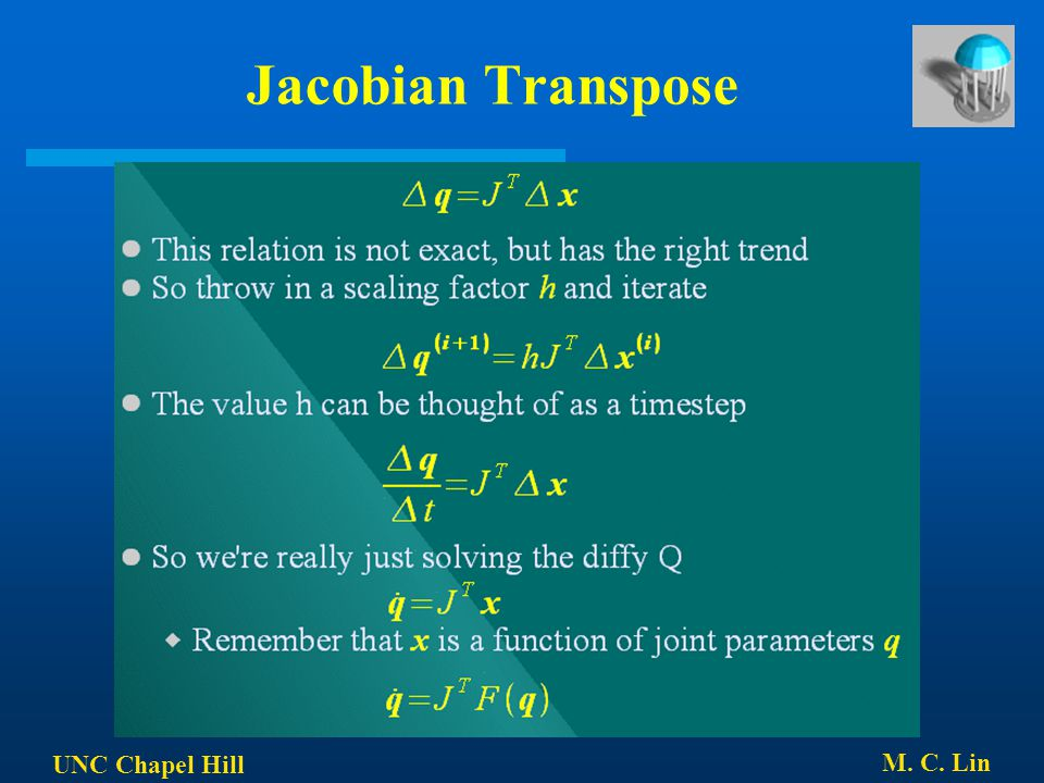 Jacobian Transpose UNC Chapel Hill M. C. Lin