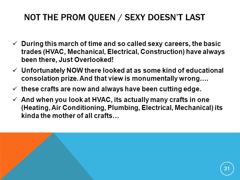 Not the prom Queen / sexy doesn't last