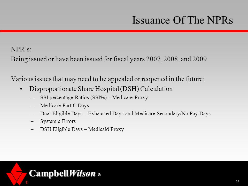 Issuance Of The NPRs NPR's: