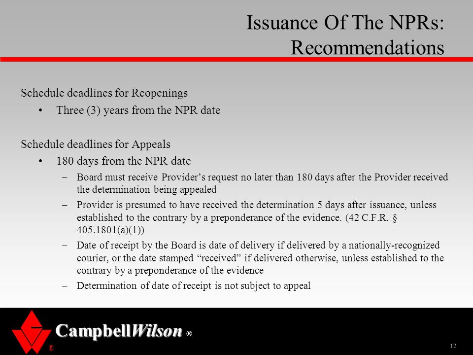 Issuance Of The NPRs: Recommendations