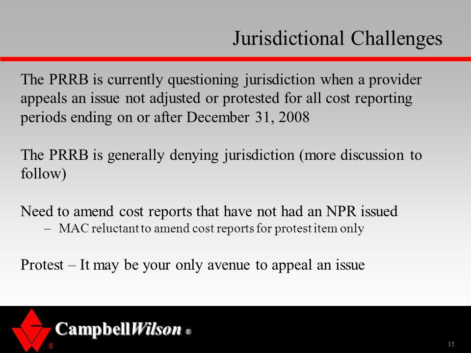 Jurisdictional Challenges