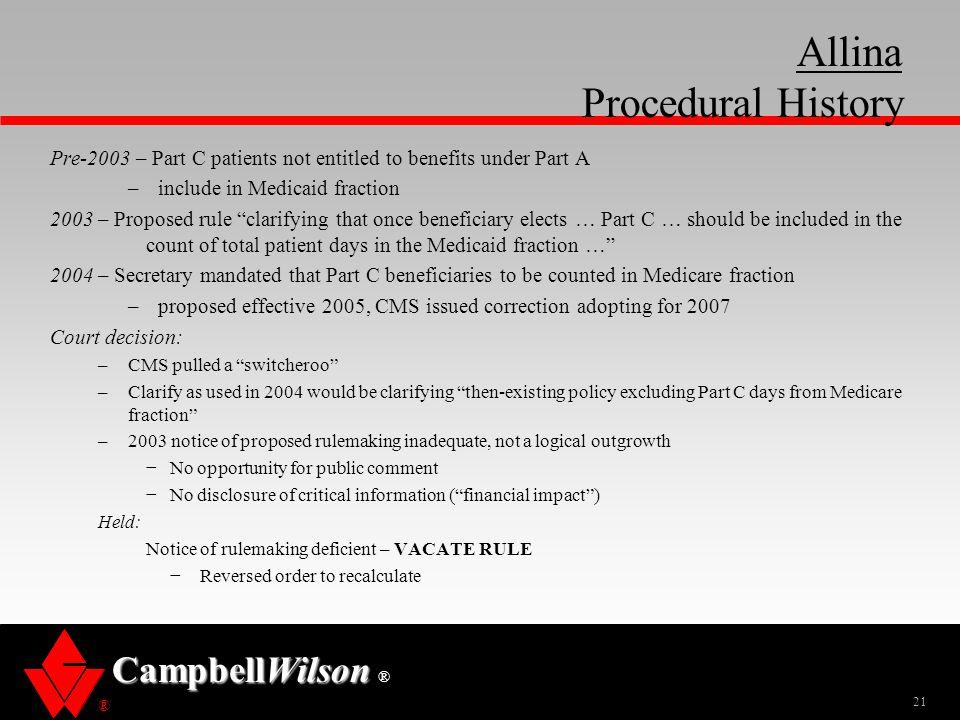 Allina Procedural History