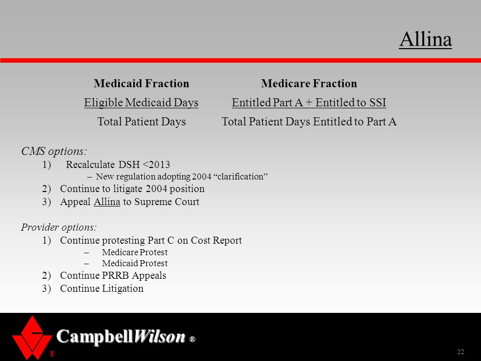 Allina Medicaid Fraction Medicare Fraction Eligible Medicaid Days