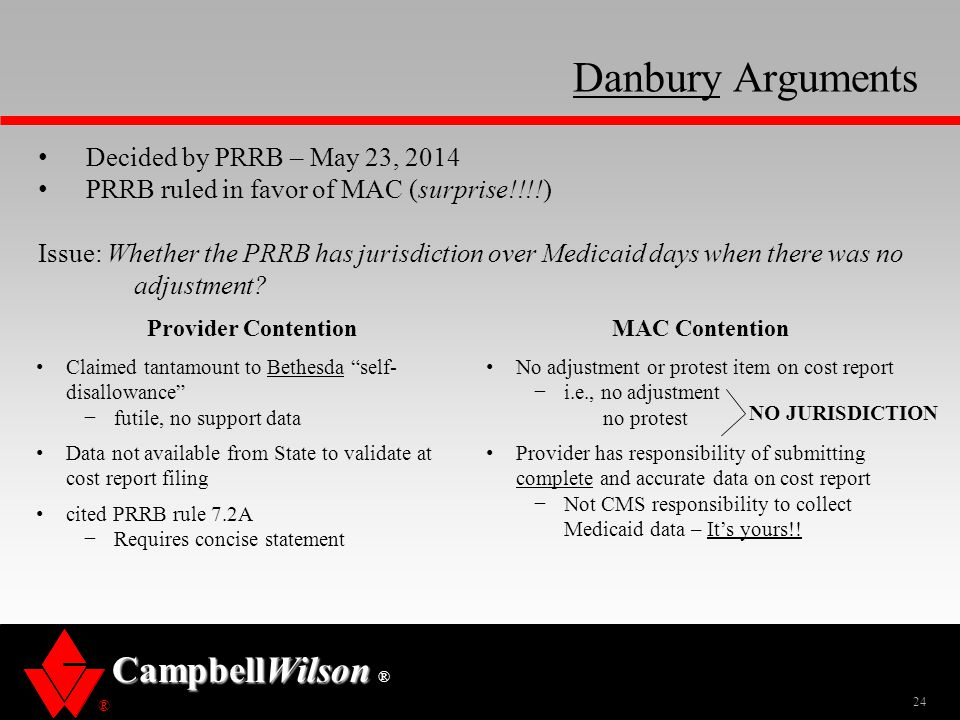 Danbury Arguments Decided by PRRB – May 23, 2014