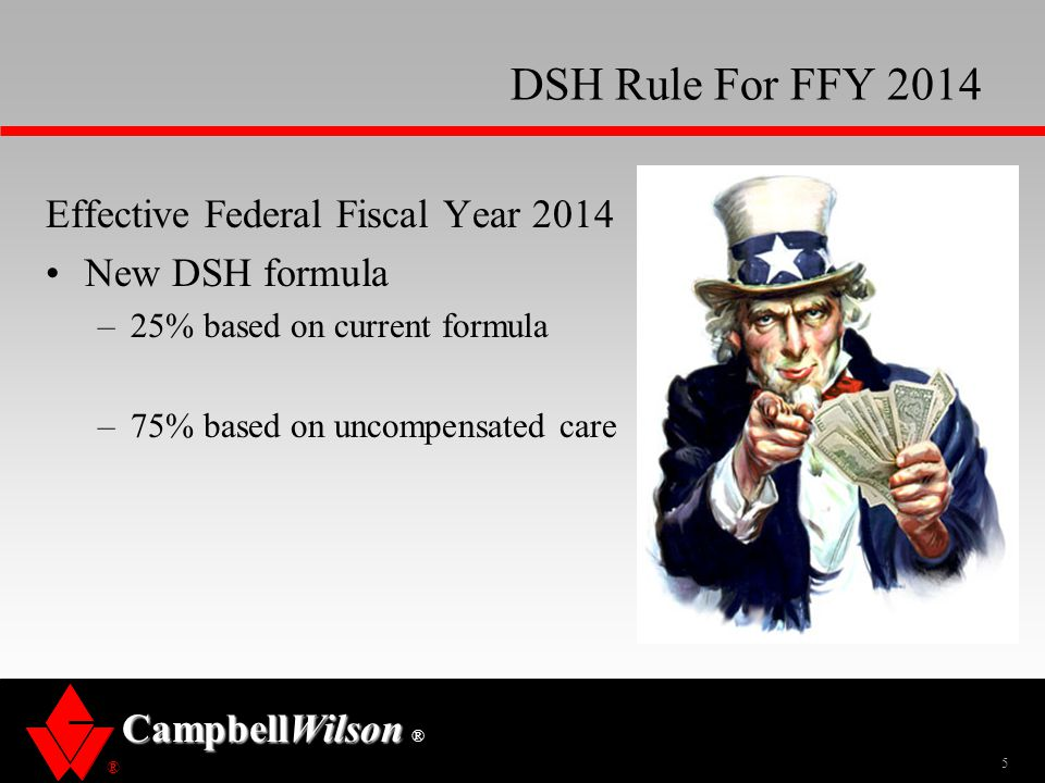 DSH Rule For FFY 2014 Effective Federal Fiscal Year 2014