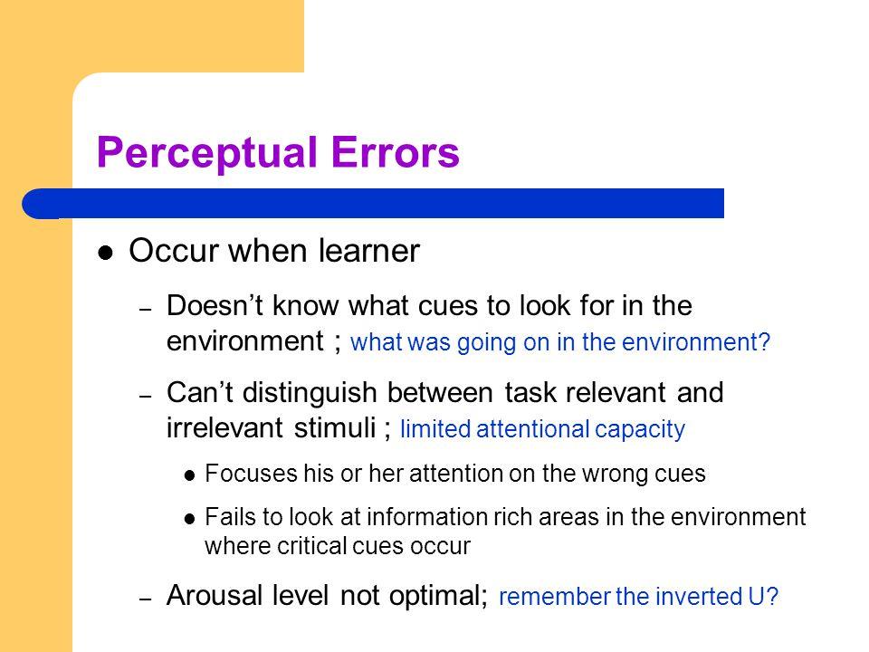 Perceptual Errors Occur when learner