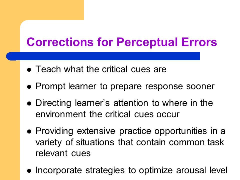 Corrections for Perceptual Errors