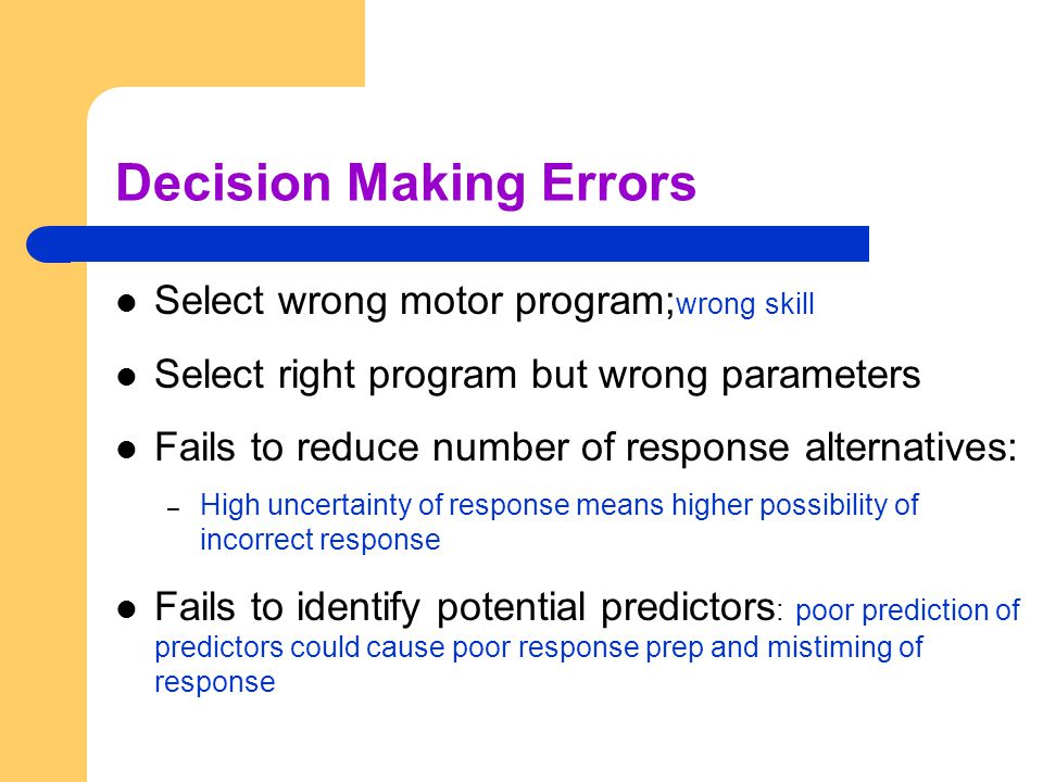 Decision Making Errors