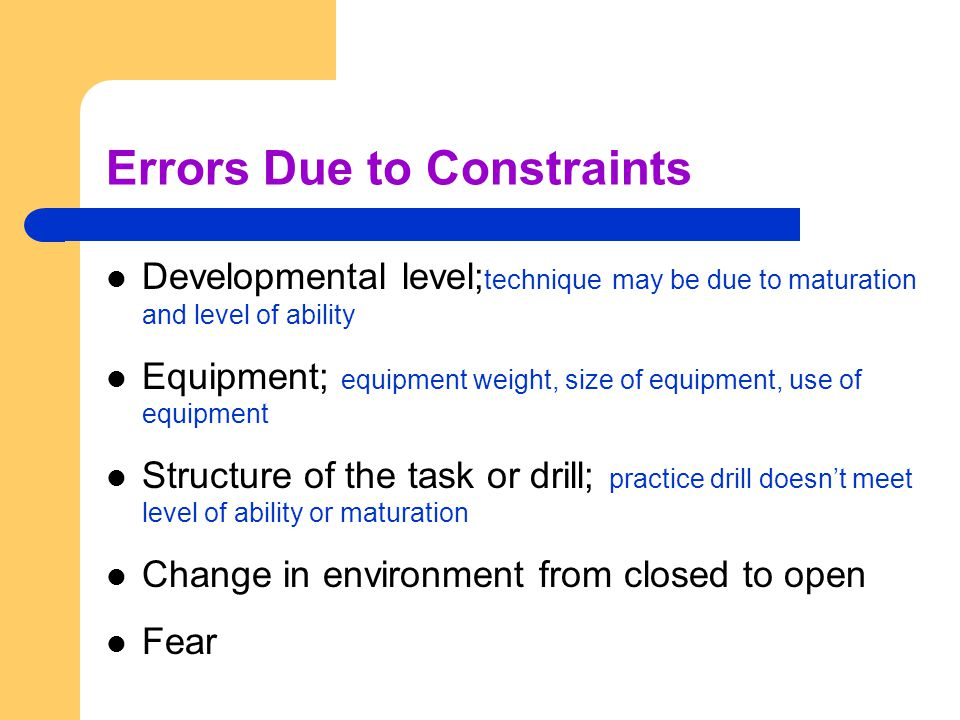 Errors Due to Constraints