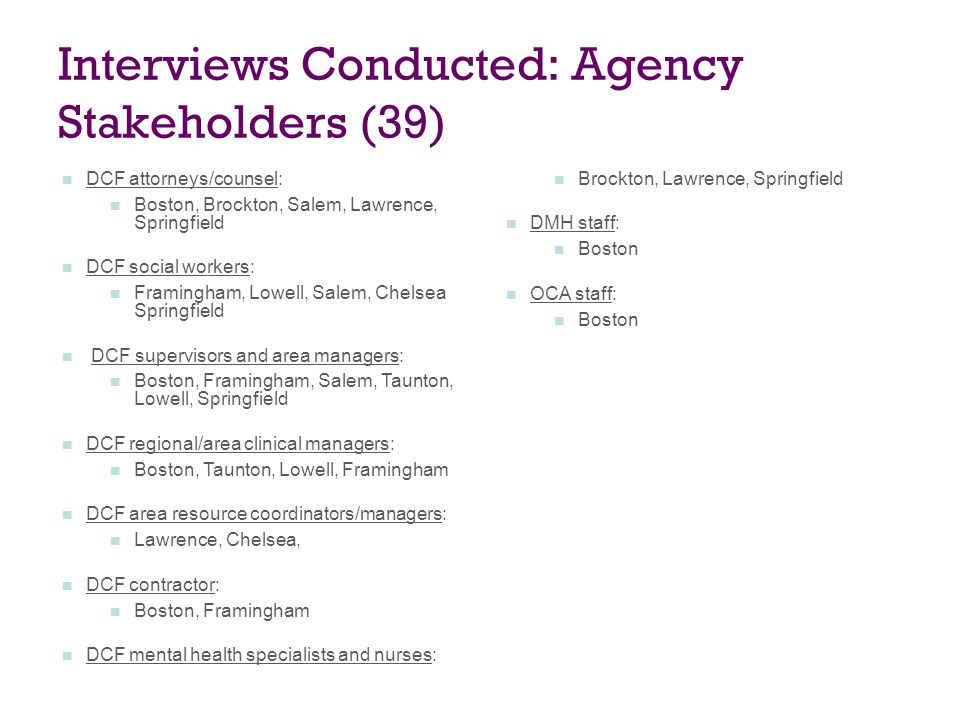 Interviews Conducted: Agency Stakeholders (39)