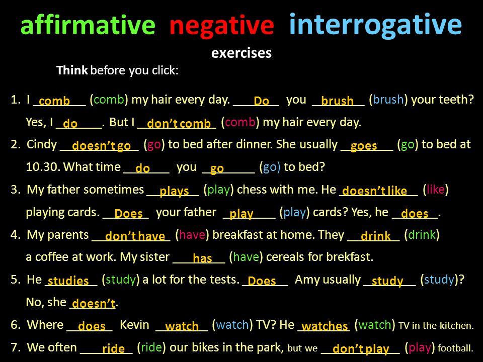 present simple negative interrogative exercises pdf