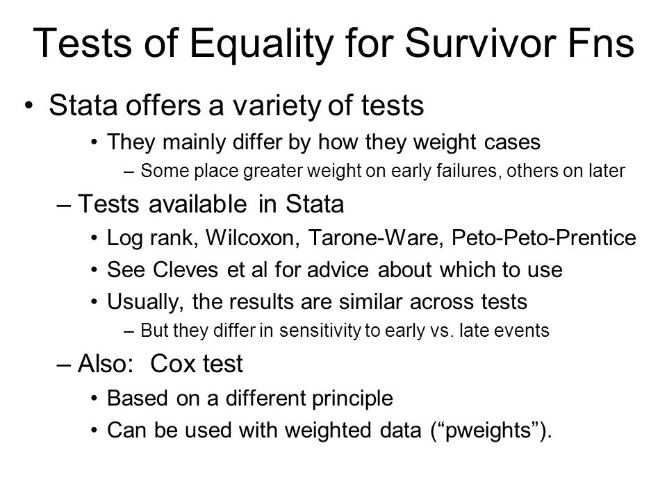 Tests of Equality for Survivor Fns