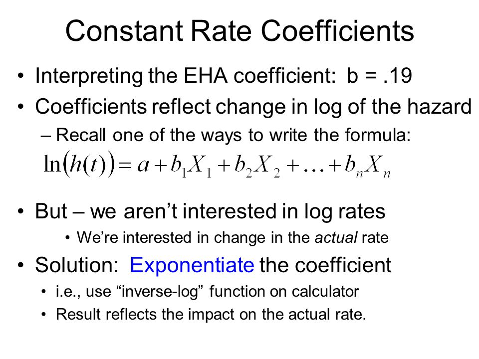 Constant Rate Coefficients