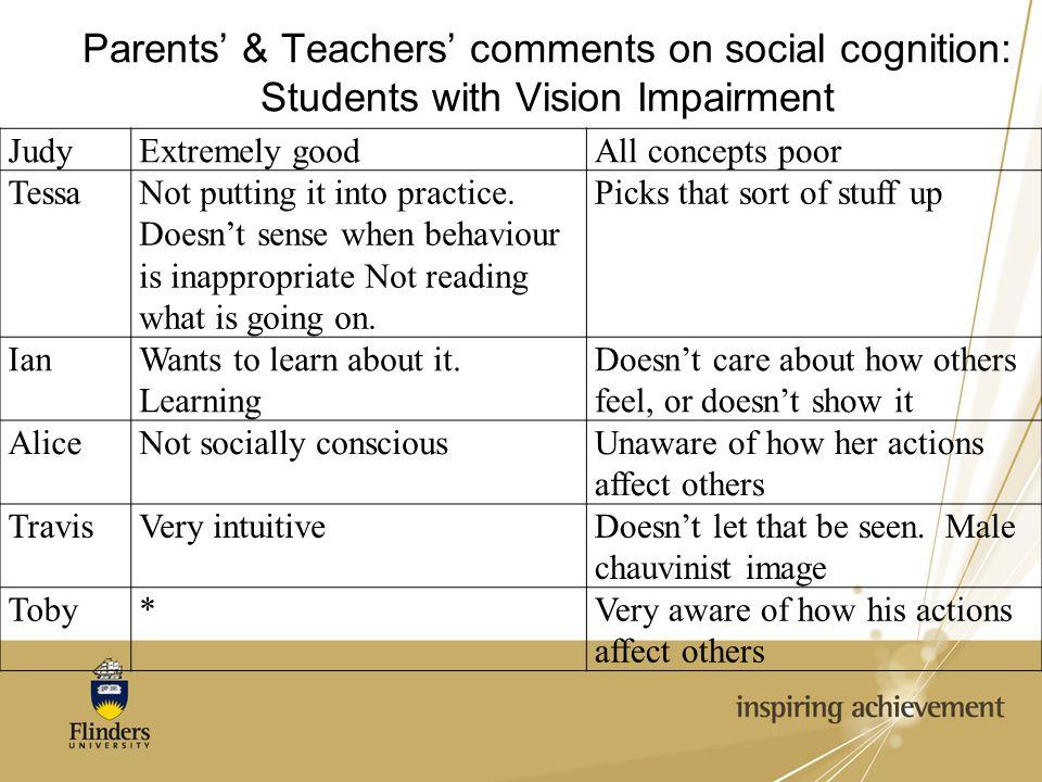 Parents' & Teachers' comments on social cognition: Students with Vision Impairment