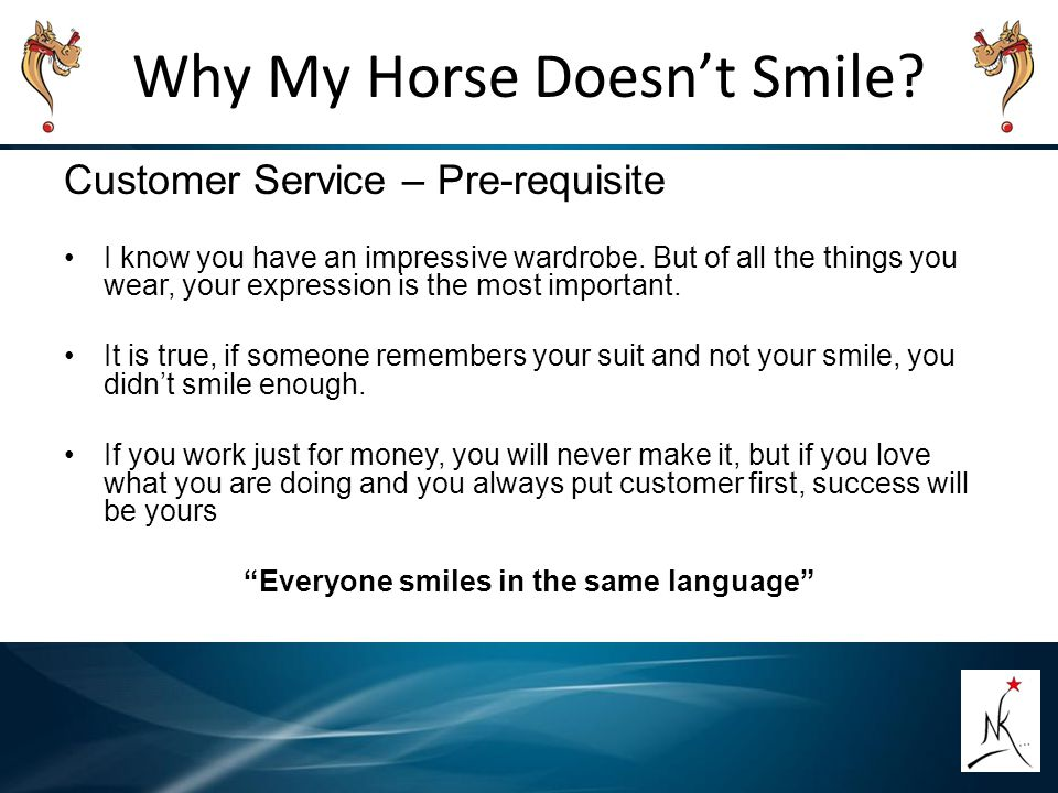 """Why My Horse Doesn't Smile?"""