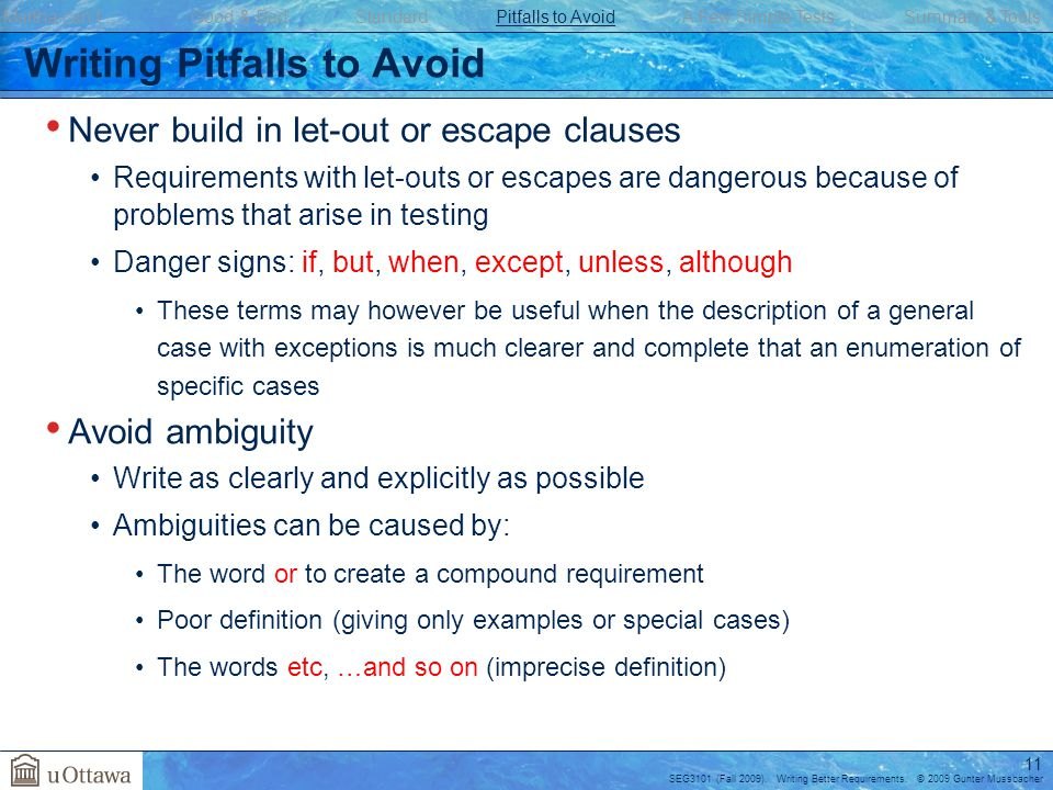Writing Pitfalls to Avoid