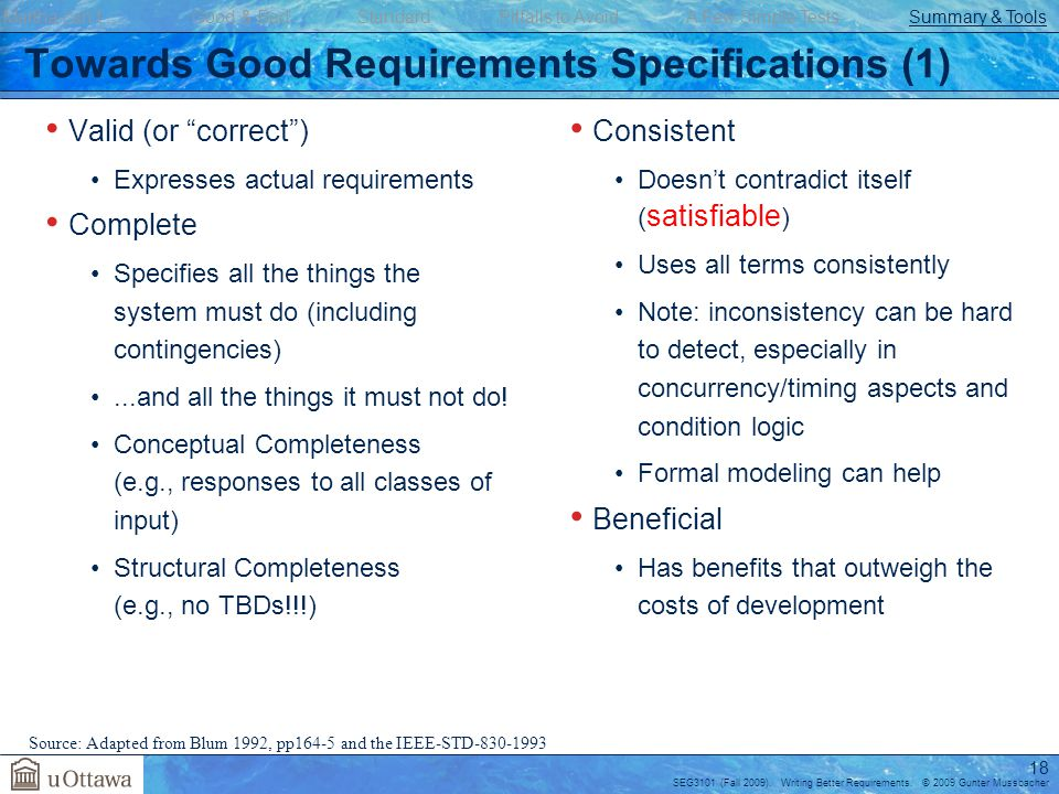 Towards Good Requirements Specifications (1)