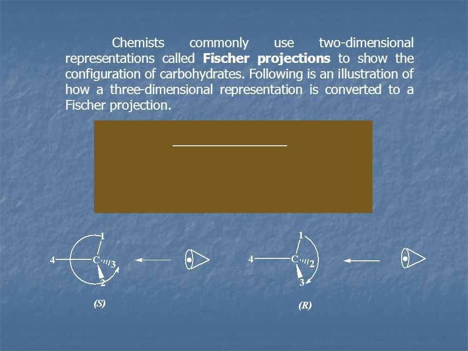Chemists commonly use two-dimensional representations called Fischer projections to show the configuration of carbohydrates.