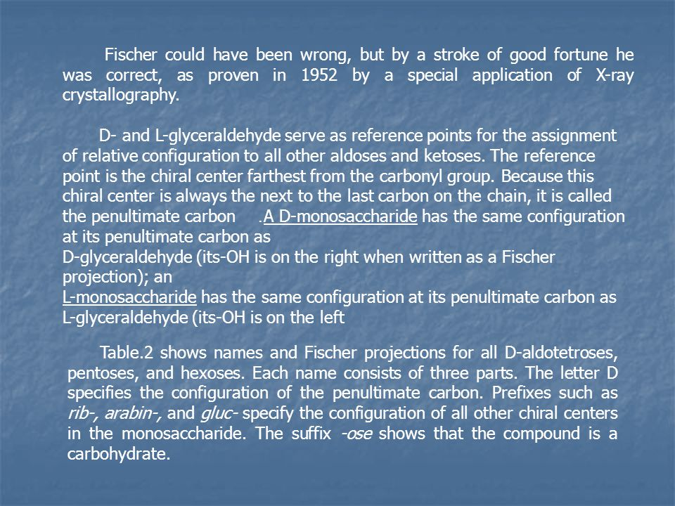 Fischer could have been wrong, but by a stroke of good fortune he was correct, as proven in 1952 by a special application of X-ray crystallography.