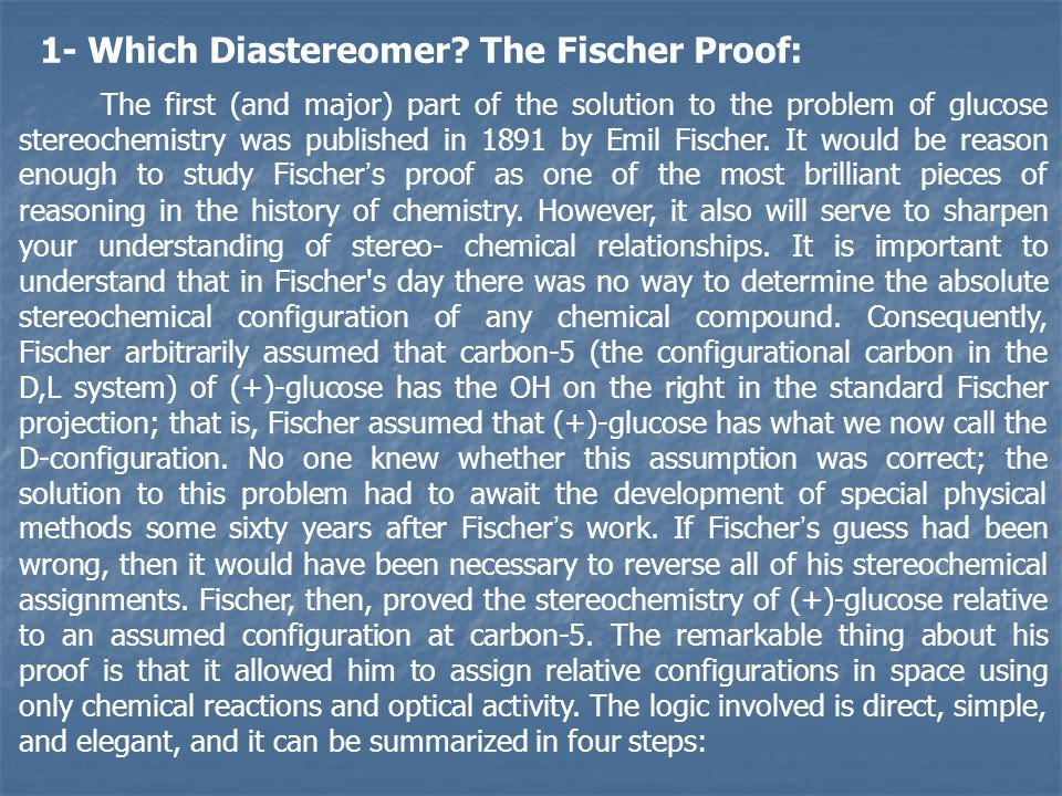 1- Which Diastereomer The Fischer Proof: