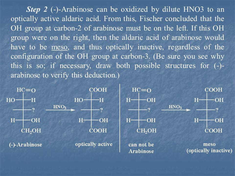 Step 2 (-)-Arabinose can be oxidized by dilute HNO3 to an optically active aldaric acid.