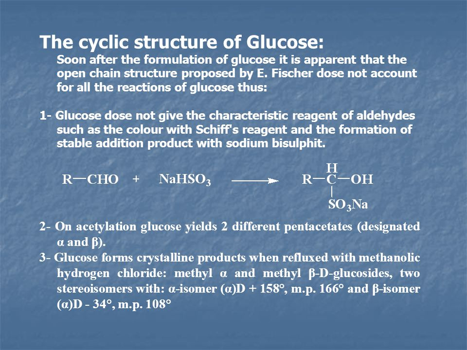 The cyclic structure of Glucose: