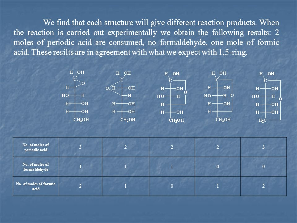 We find that each structure will give different reaction products