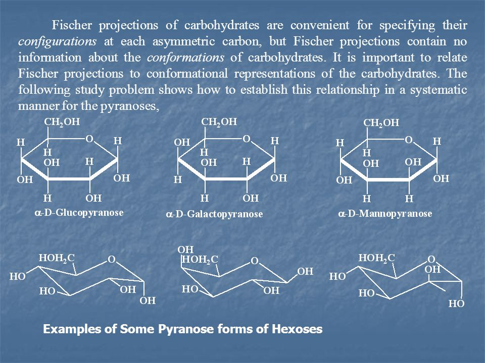 Fischer projections of carbohydrates are convenient for specifying their configurations at each asymmetric carbon, but Fischer projections contain no information about the conformations of carbohydrates. It is important to relate Fischer projections to conformational representations of the carbohydrates. The following study problem shows how to establish this relationship in a systematic manner for the pyranoses,