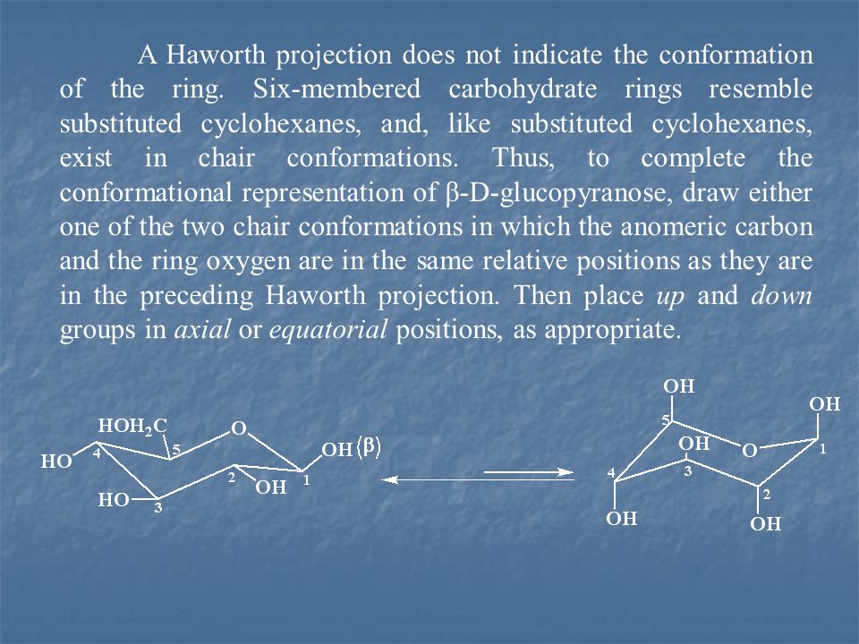 A Haworth projection does not indicate the conformation of the ring