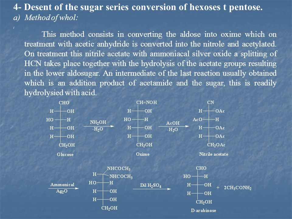 4- Desent of the sugar series conversion of hexoses t pentose.